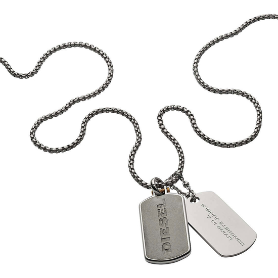 DIESEL Engraved Stainless Steel and Concrete Double Dog Tag Necklace DX1194040