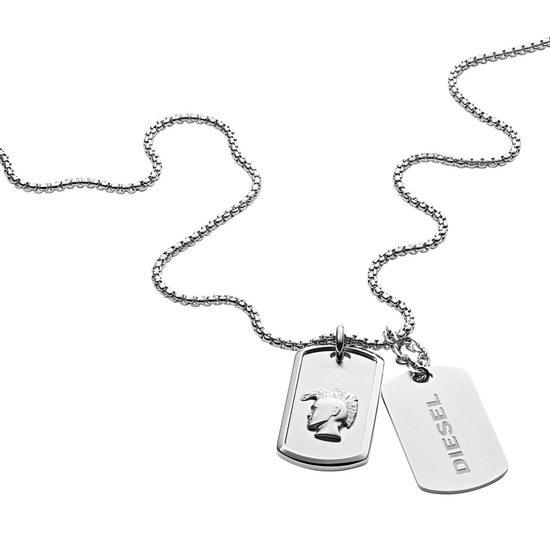 DIESEL Stainless Steel Double Dog Tag Necklace DX1210040